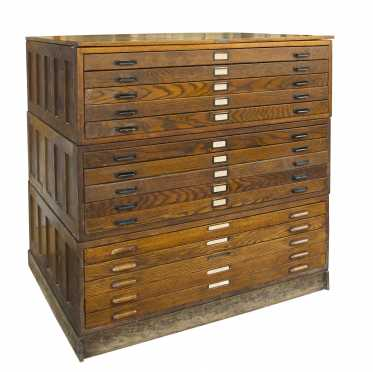 Oak Map Case of 15 Drawers