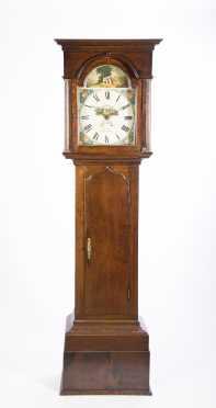 Woller Birmingham English Oak Case Tall Clock
