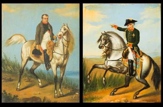 Two Paintings of Napolean and Wellington, oil on board
