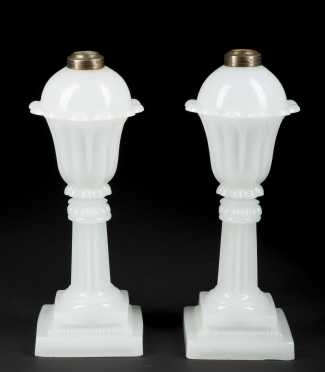 Pair of Clambroth Glass Oil Lamps