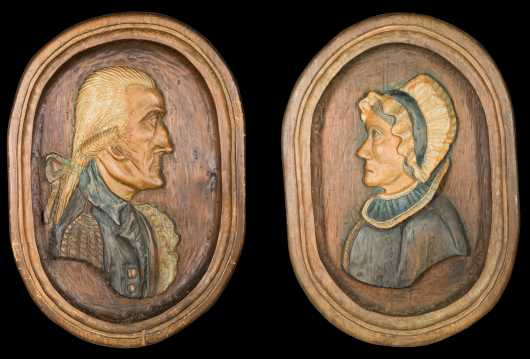Pair of Carved and Painted Wood Folk Portraits
