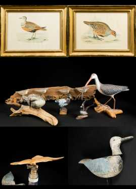 Two Colored Prints and Seven Carved Wooden Birds
