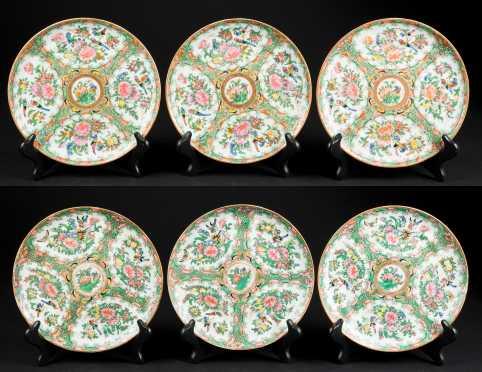 Set of Six Rose Medallion Plates