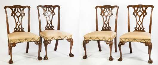 Four Mahogany Chippendale Style Side Chairs