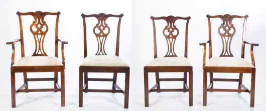 Four Chippendale Style Dining Chairs