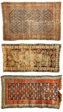 Three Antique Caucasian Scatter Rugs