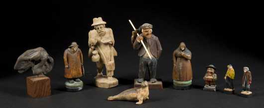Nine Carved Wooden Objects