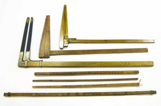Tool Lot: Antique Wood Calipers and Pulls