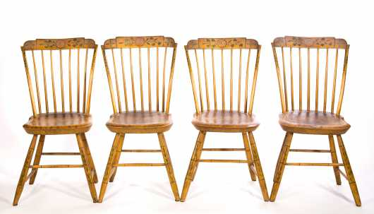 Set of Four Paint Decorated Step Down Windsors