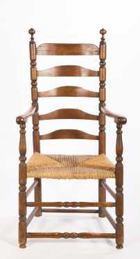 18thC. Ladderback Arm Chair