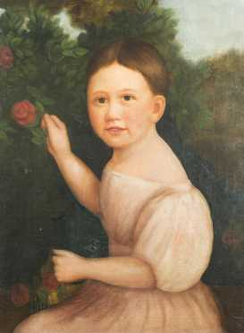 """Primitive Painting of a Young Girl, oil on canvas painting of """"Augusta Shaw Morton"""" (1826-1886)"""
