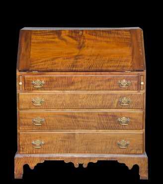 Tiger Maple Chippendale Slant Front Desk