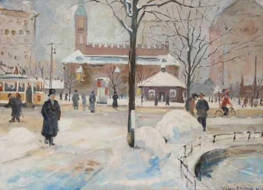 Louis Kronberg (1872-1965), NY, MA, FL, France., Oil on canvas painting of Boston Street Scene