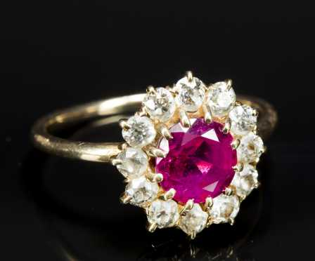 Ruby and Diamond Cluster Ring, set in unmarked yellow gold