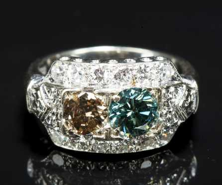 White Gold and Fancy colored Diamond Dinner Ring