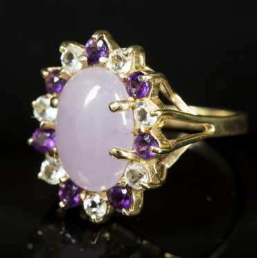Lavender Jade Cluster Ring