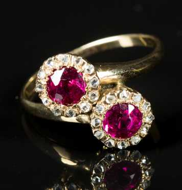 Ruby Double Cluster Ring