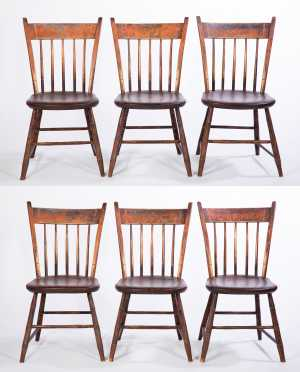 """Set of 6 Thumback Chairs, Branded """"J.P.Wilder Warrented"""""""