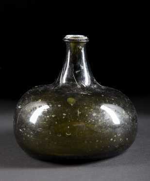 Blown Glass Squat Bottle, 18thC or earlier