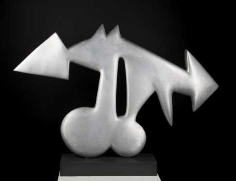 Richard Kowal, 20thC American, Double Arrow Gray Aluminum Sculpture