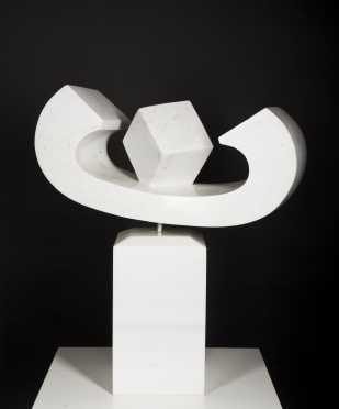Artist Unknown, 20thC., American, Two Part White Marble Abstract Sculpture