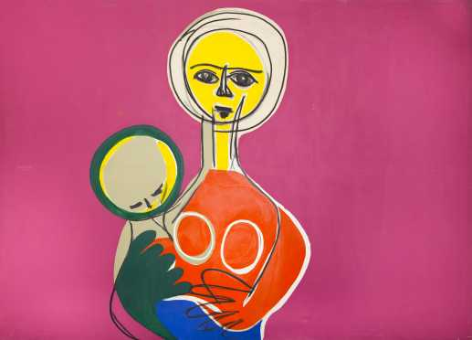 Sachio Yamashita, 20thC., American, attributed , depicting mother and child, acrylic on canvas, unsigned