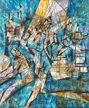 Magnus Engstrom, Sweden, Contemporary, arcylic painting on canvas of an abstract view of musicians playing music, signed lower right