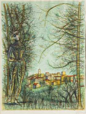 Jean Carzou (1907-2000), France, Middle East, Limited Ed. Colored Print, 30/100, signed in the plate and pencil signed lower right