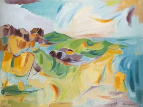 "Alexander Minewski (1917-1979), NY, Michigan, Oil on Canvas Painting of ""Monhegan Island"""