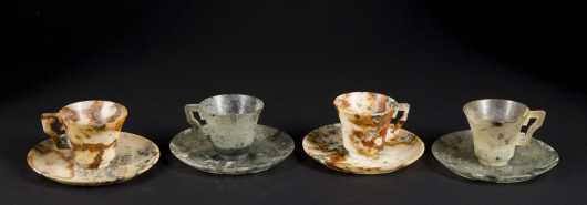 Two pairs of chinses Jadeite Cups and saucers