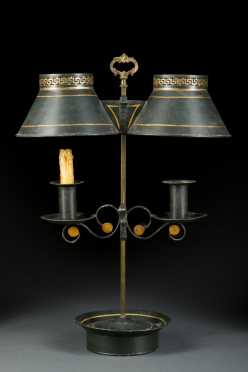 French Adjusted Tole Decorated Lamp