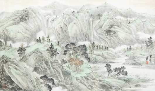 Chinese Watercolor Mountain Painting