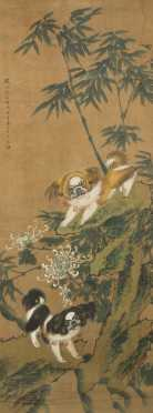 Chinese Shih Tzu Dogs Painting