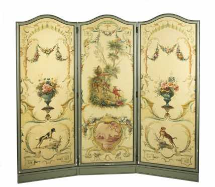 French Style Painted Screen
