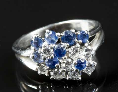 Ladies Diamond and Sapphire Ring