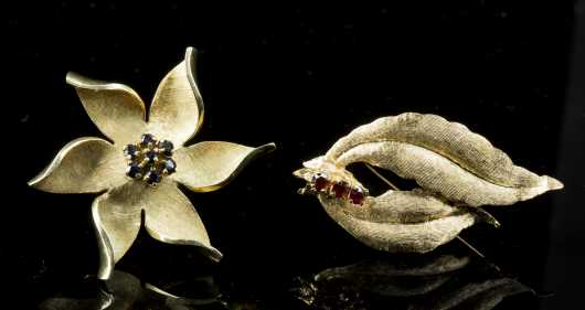 14K Yellow Gold Dogwood Blossom Brooch