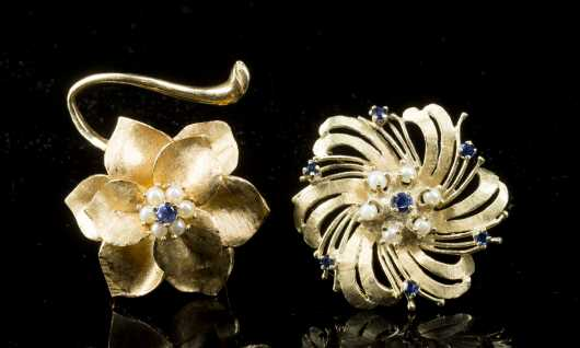 2-14K Yellow Gold and Sapphire Pins