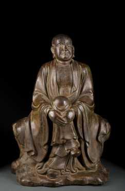 Bronze Chinese Lohan Buddha Figure