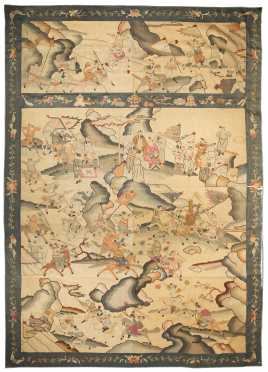 Chinese Kossu Silk Panel with Gold Thread