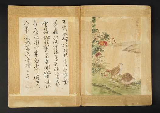 Chinese Watercolor and Calligraphy Bird Album