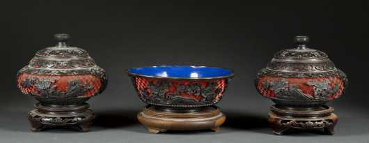 Three Chinese Carved Cinnabar Vessels