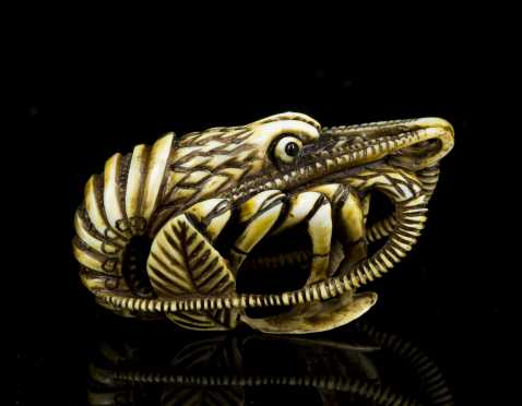 Japanese Carved Netsuke in the form of a Crayfish