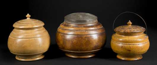 Three Covered American Treen Bowls