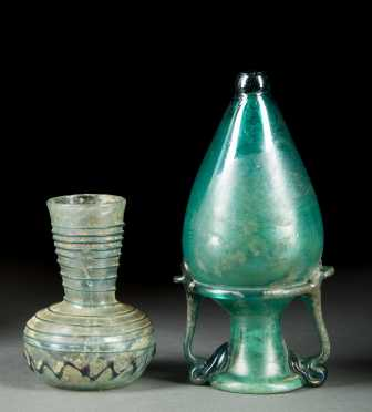Roman Glass Amphora and Small Vase