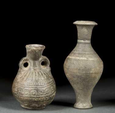 Two Miniature Decorated Roman Vases