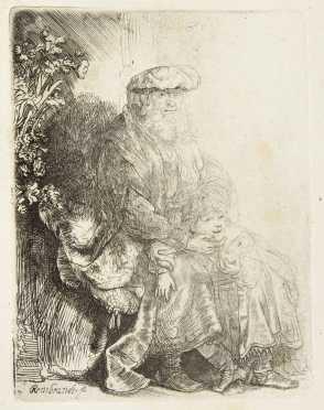 "Rembrandt Van Rijn ""Abraham Caressing Isaac"" Etching"