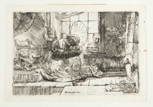 "Rembrandt Van Rijn, ""The Holy Family with a Cat"" Etching"