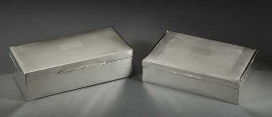 Two English Silver Cigarette Boxes