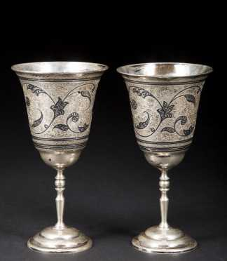 Two Russian Silver Niello Goblets