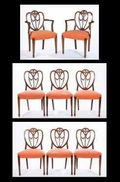 Set of Eight English Mahogany Dining Chairs